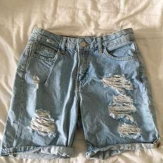 Primark Ripped Light Denim Boyfriend Shorts