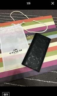真的很新 COACH 黑色荔枝紋 浮印 C Logo 全皮 雙摺 長夾 皮夾 長夾 黑色...免運費