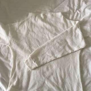 Cream High Neck Long Sleeve Top