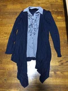 Dorothy Perkins Longsleeve blue button tunic
