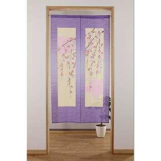 <包順豐智能櫃> 日本製 麻布風櫻花門簾 (櫻花與垂枝) 001324