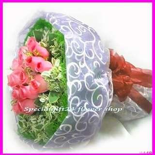 花束鮮花18朵玫瑰花店生日求婚訂婚結婚示愛心意表達感恩B449