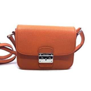 Miu Miu Bandoliera Orange Leather Cross Body Handbag w Silver Hardware