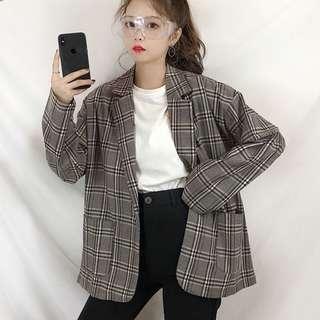 🚚 BN Grey Plaid/ Checkered Blazer Outerwear