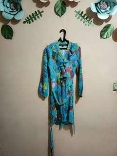 #SALE Blus midi dress biru bunga