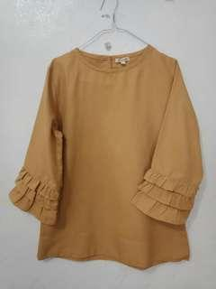 Atasan mustard top blouse ori warna katun premium