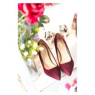 【TKRY】展示鞋出清絨毛款淺口尖頭10公分高跟鞋