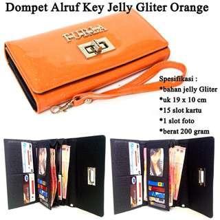 Dompet Wanita Alruf Key Jelly Gliter Best Seller - Orange