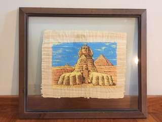 Framed Egyptian Scroll with Paining of The Great Sphinx of Giza