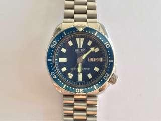 Vintage Seiko 6309-7290 diver watch blue dial restored