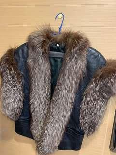 Leather vest coat with fur lining