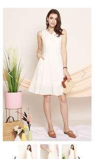 Eyelet Midi Dropwaist Dress