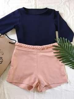 Peach pink braided shorts fake belt with pockets
