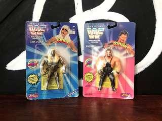 🚚 1996 Vintage 早期 Just Toys WWF 世界摔角聯盟 BEND-EMS 選手鐵絲軟膠公仔 吊卡