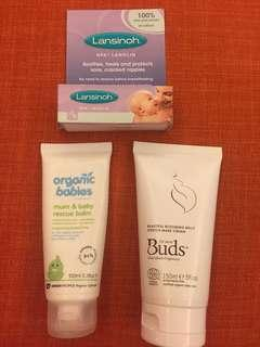 Lansinoh nipple cream, Buds belly stretch mark cream, organic babies rescue balm
