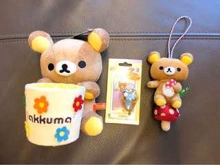 日本 Rilakkuma 鬆弛熊 公仔 掛件 筆筒 掛飾