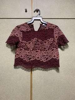 TOBI MAROON LACE BUTTONED DOWN BACK CROP TOP