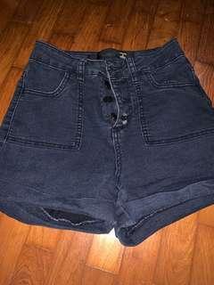 Button up high waisted shorts