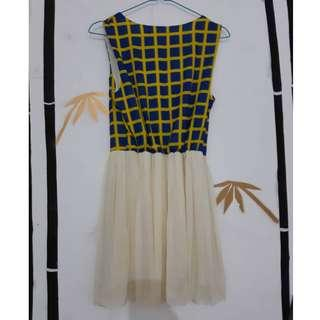 Short dress blue and yellow gaun pendek biru kuning kotak-kotak