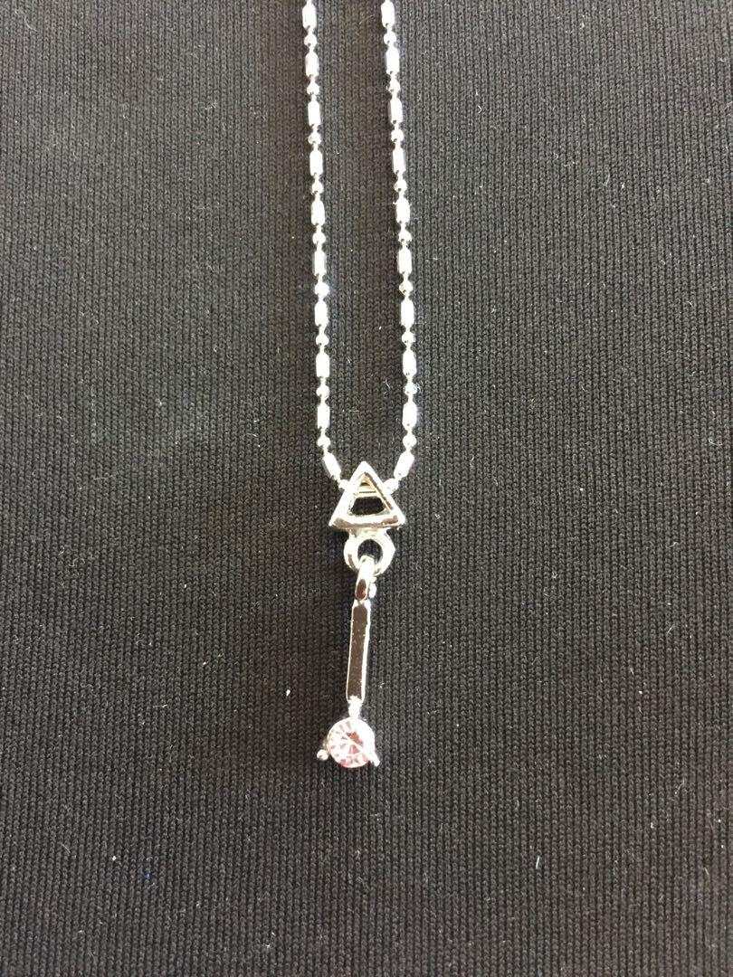 18K White Gold plated Pink Stone Necklace