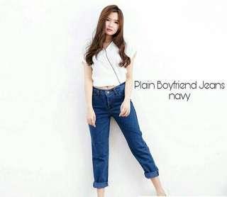 Celana jeans boyfriend dark blue