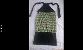 Large Halter Green Print Short Dress