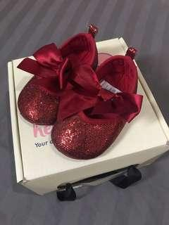 Red Sequined Bow Doll Shoes