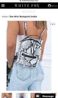 Mini snakeprint backpack