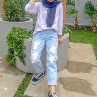 Ripped Jeans Soft Blue