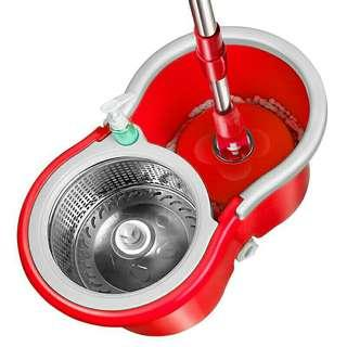 360° rotating spin mop with wheels and stainless steel basket