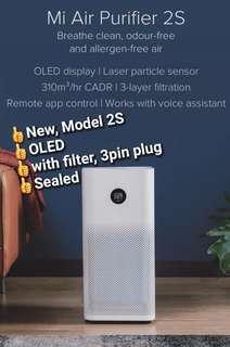 Xiaomi Air Purifier 2S ,OLED Screen Display, 310m³/h CADR, 40% smaller than the first Mi Air Purifier, Triple-layered Filter