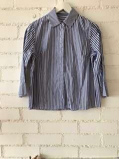 blue Striped shirt 3/4 sleeve shirt from korea  #dressforsuccess30