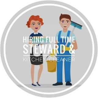 Full Time Stewards and Kitchen Cleaner For Hotel