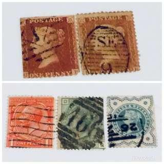 5 ancient high-value UK stamps