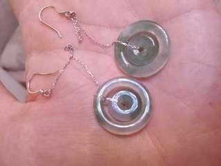 天然翡翠18k子母扣耳環