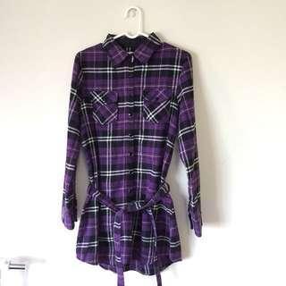 Ibex sport 紫色格子長版襯衫/洋裝