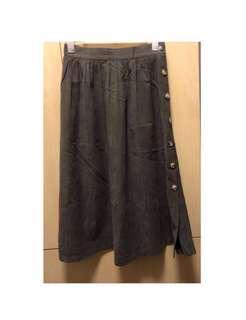 全新啡黑色韓國製麋皮橡筋頭文青半截長裙 #photosup