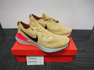 quality design 28a5c 45c95 Nike Epic React Flyknit 2 Club Gold Black Red Orbit