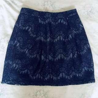 Zalora Blue Lace Skirt Korean Ulzzang #DressForSuccess30