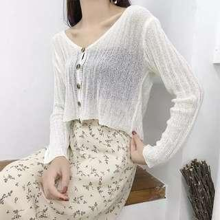 Creamy White Long Sleeves Knitted Outerwear
