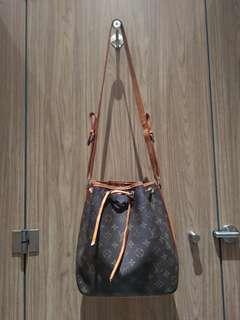 Louis Vuitton Monogram Petit Noe Shoulder Bag Brown Leather