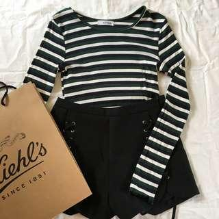 Stripes Crop Top long sleeve in green and black