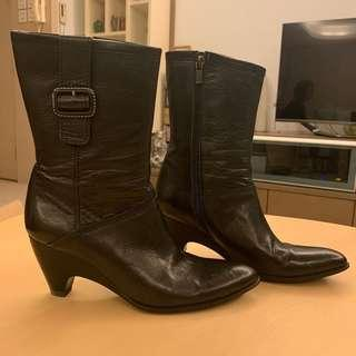 日本牌子Rabokigoshi Works黑色牛仔真皮靴 black leather cowboy boots