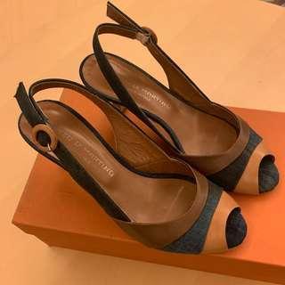 意大利牌子Enzo Di Martino 牛仔拼布真皮高跟鞋denim mix leather heels
