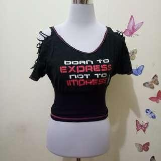 Black Crop Top Shirt
