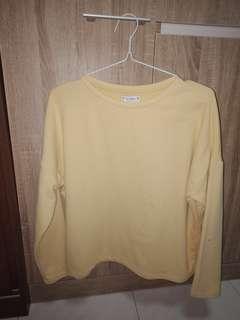 Pull & Bear Yellow Pullover Sweatshirt