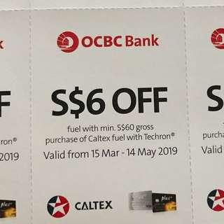 8x$6 off fuel with minimum $60 Caltex fuel