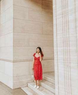 Red Off Shoulder Floral Dress