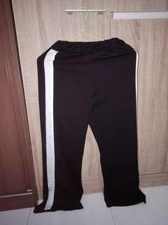 Black & White Striped Slit Pants