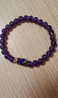 天然紫晶貔貅手串